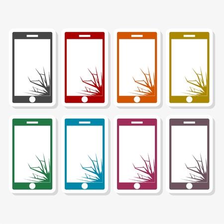 vector brisé téléphone intelligent - illustration