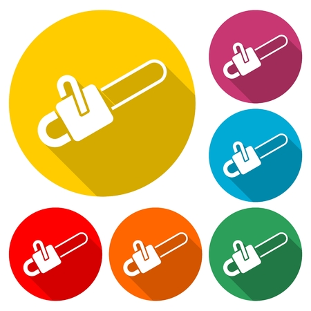Chainsaw icon, tool woodcutter illustration. Stock Illustratie