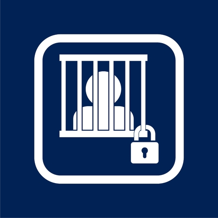 Man silhouette behind bars simple business icon Illustration