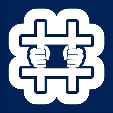 Jailed icon, Behind bars icon - Illustration