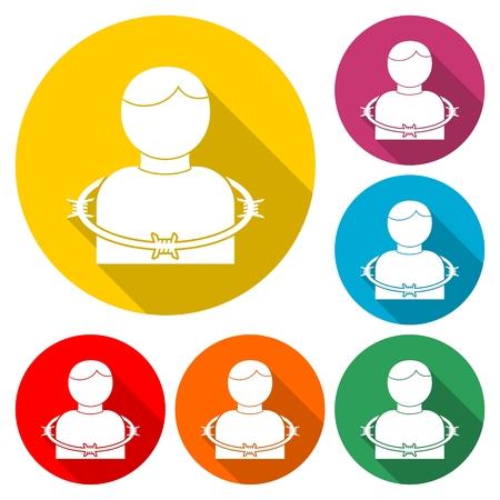 User icon with barbwire - Illustration Stock Illustratie