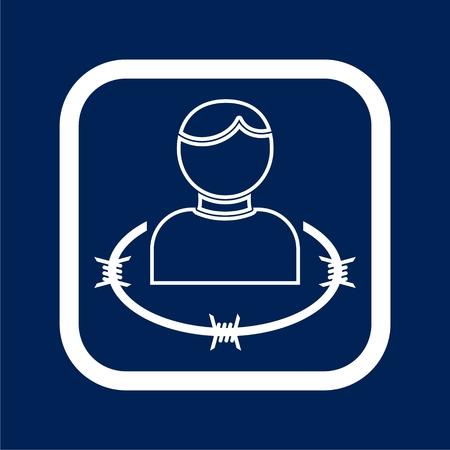 User icon with barbwire - Illustration  イラスト・ベクター素材