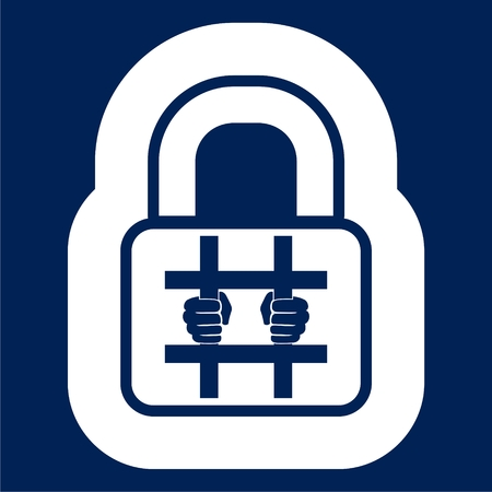 Behind bars icon, Lock icon - Illustration