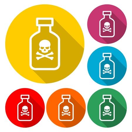 Bouteille de poison avec des os étiquette illustration vectorielle Banque d'images - 97428000