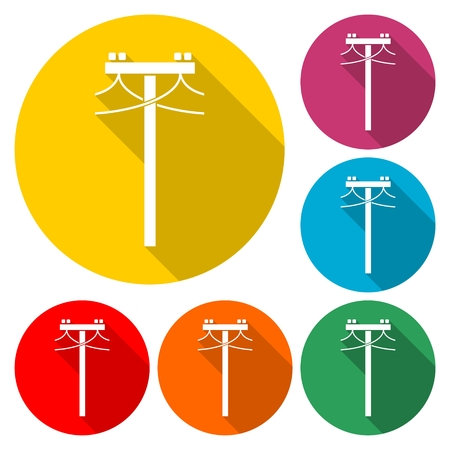 Set of colorful power line icons on a white background Illustration