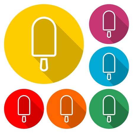 Ice Cream icon set - Vector illustration. Çizim
