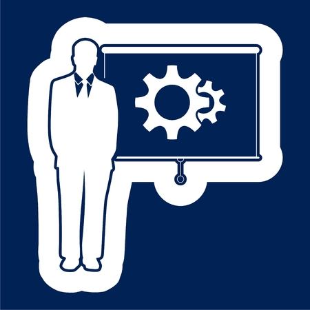 Businessman presentation with a board and a gear image