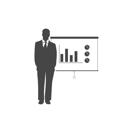 Businessman presenting marketing data illustration.