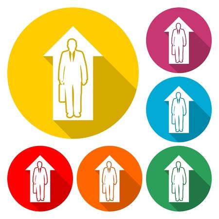 Business success icon in multi-color circle Illustration. Illustration