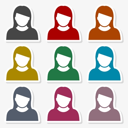 Vector illustration of woman avatar in different colors.