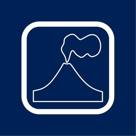 Volcano eruption line icon with border illustration.