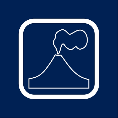 Volcano eruption line icon with border illustration.