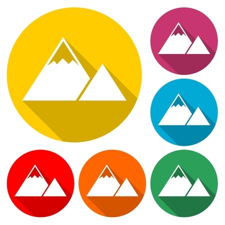 Mountain Icon in multi-color circle Illustration.