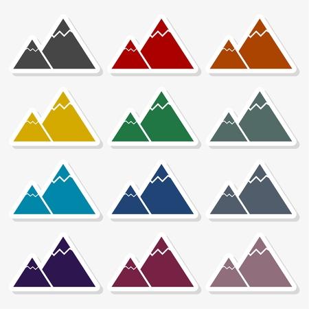 Mountain Icons in multi-color Illustration design.