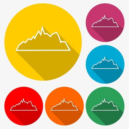 Mountain icon vector - Illustration