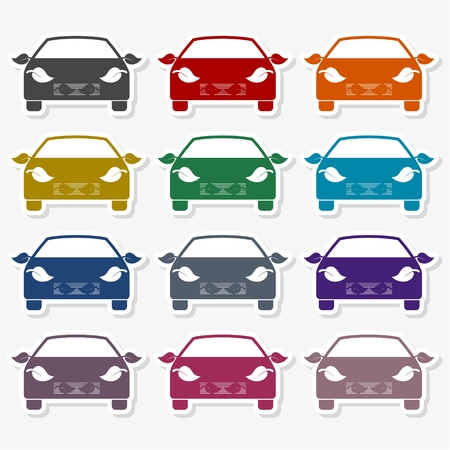 Car and Leaf Icon Flat Graphic Design - illustration