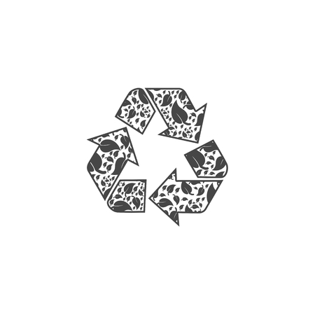 Leaf in Recycling Symbol Icon Flat Graphic Design - Illustration