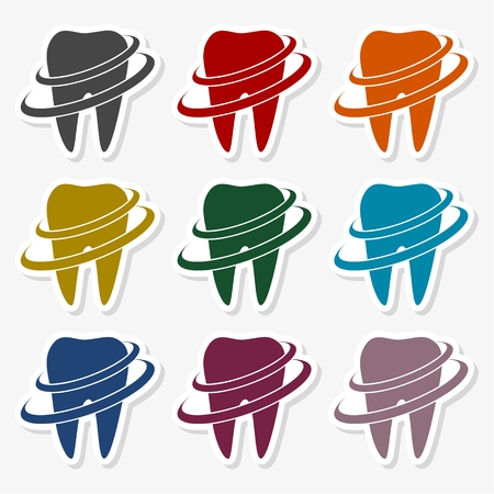 Tooth Icons  in multi-color Illustration. Stock Illustratie