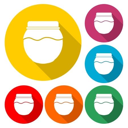 Jam jar vector icon illustration set.