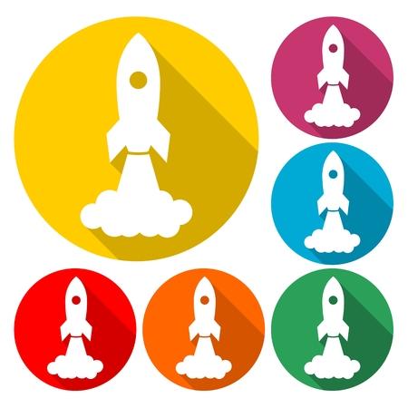Started rocket spaceship icon - Illustration  イラスト・ベクター素材
