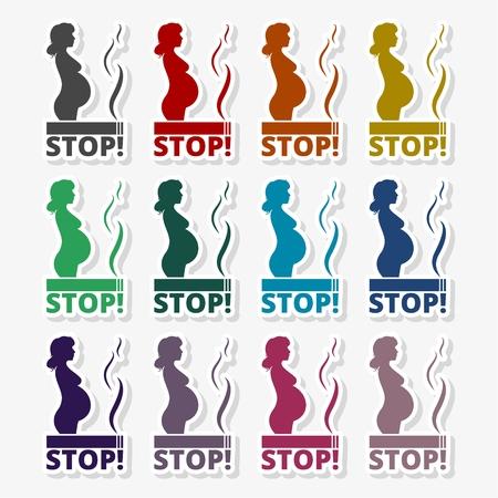 Stop smoking, pregnant woman silhouette icon