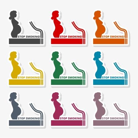 Stop smoking, poster pregnant woman silhouette icon Illustration
