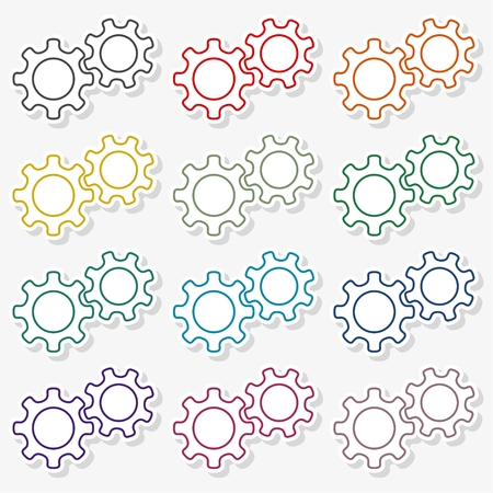 Outline gear icon Ilustrace