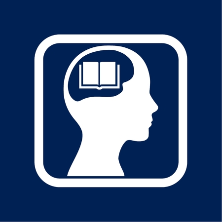 Human head silhouette and book
