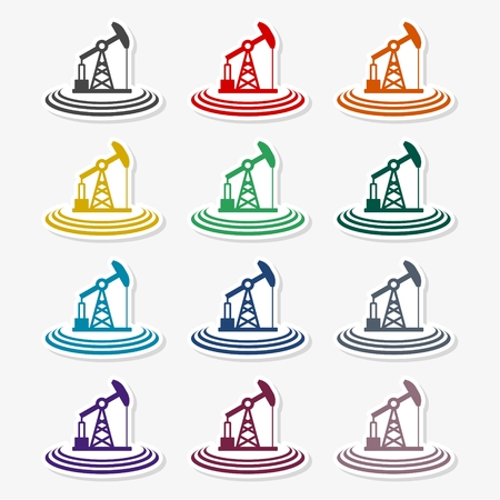 Oil Industry Silhouette icon Vettoriali