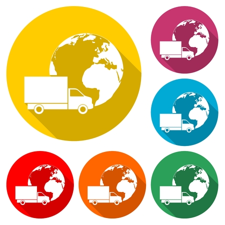 Logistics transport globe concept, Truck
