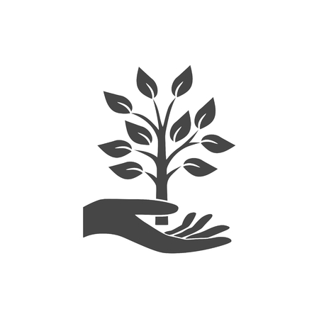 Hand with a tree symbol - Illustration
