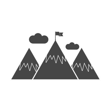 Flag on a Mountain peak, Mountain Illustration