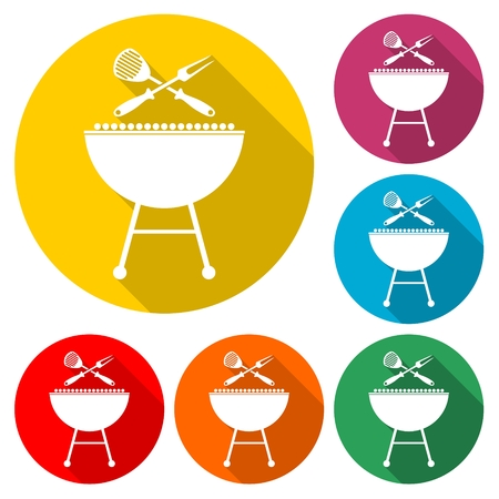 BBQ vector icon, Grilling Utensils Icon Flat Graphic Design