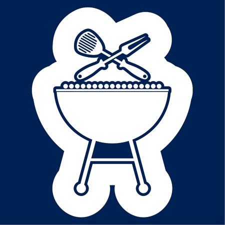 BBQ vector icon, Grilling Utensils Icon Flat Graphic Design
