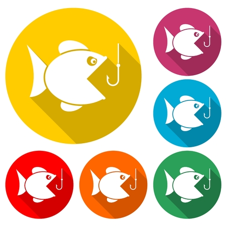 Fish open mouth to swallow a hook - vector illustration