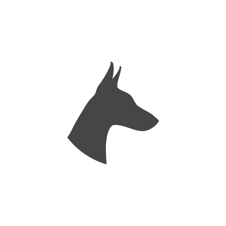 Doberman dog silhouette, side view, vector icon Imagens - 104013293