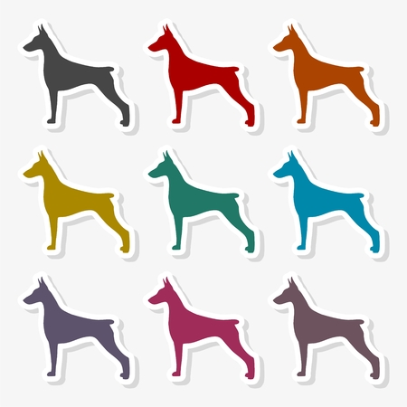 Doberman dog silhouette, side view, vector Ilustração