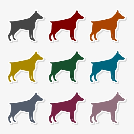Doberman dog silhouette, side view, vector icon
