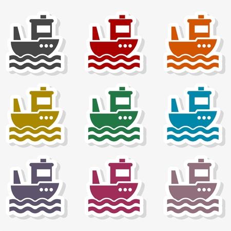 Fishing boat in the sea Иллюстрация