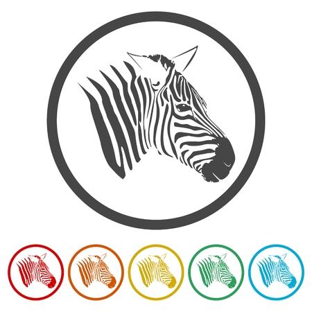 Zebra icons set - vector Illustration Ilustração