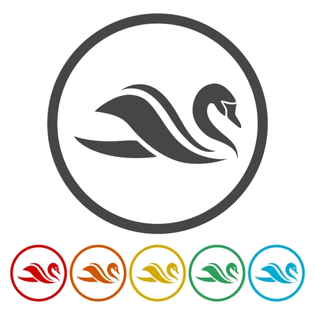 Swan Icons set Flat Graphic Design - Illustration