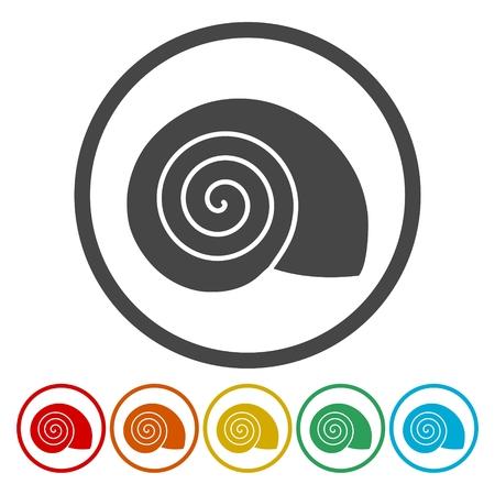 Flat Design Simple Icons set - Snail Shell - Illustration