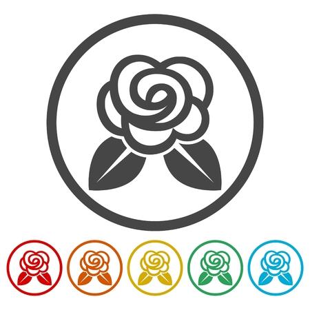 Rose Icons set Flat Graphic Design - Illustration