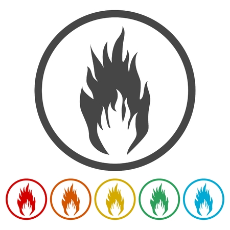 Fire flame icons set - vector Illustration