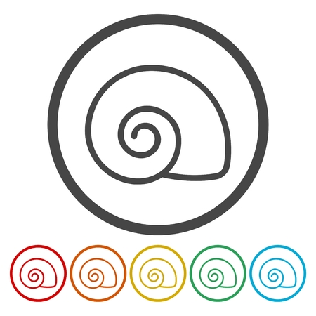 Flat Design Simple Icons set - Snail Shell