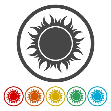 Sun icons set - vector Illustration