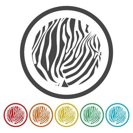 Zebra Print icons set - Illustration