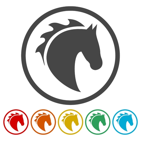 Vector illustration of horse head icons set Иллюстрация