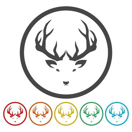 Deer head illustration vector - color icons set Vettoriali