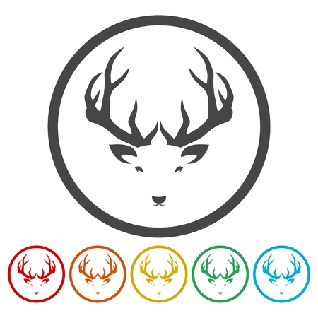 Deer head illustration vector - color icons set Ilustração
